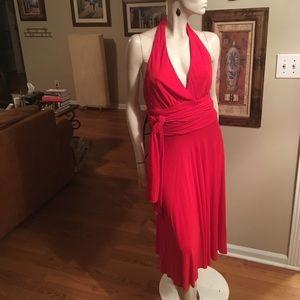 Carmen Marc Valvo Red Halter Dress with Sash